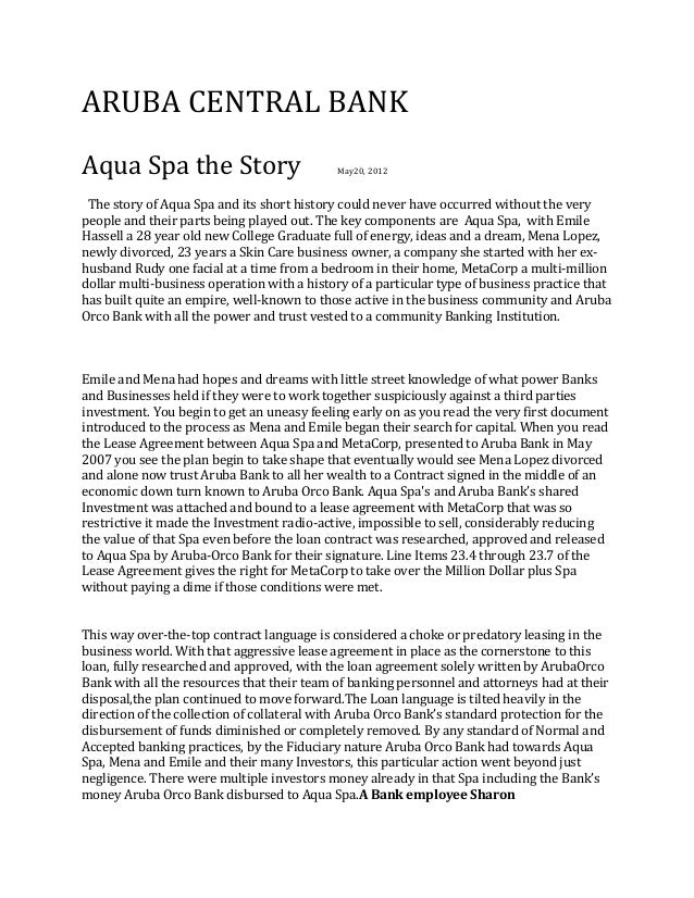 ARUBA CENTRAL BANKAqua Spa the Story                          May20, 2012 The story of Aqua Spa and its short history coul...