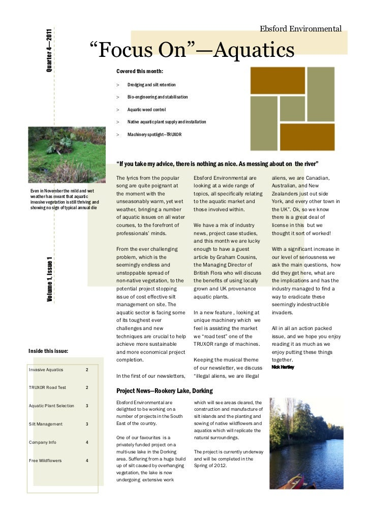 "Ebsford Environmental        Quarter 4—2011                                     ""Focus On""—Aquatics                       ..."