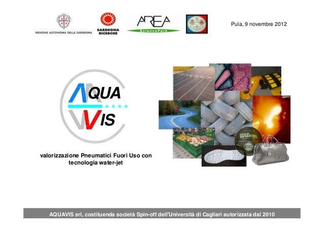 Pula 19 Aprile 2012 Pula, 9 novembre 2012 AQUAVIS srl, costituenda società Spin-off dell'Università di Cagliari autorizzat...