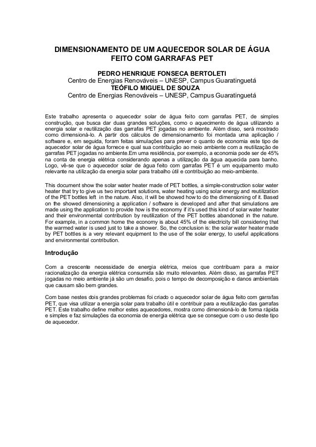 DIMENSIONAMENTO DE UM AQUECEDOR SOLAR DE ÁGUA               FEITO COM GARRAFAS PET                   PEDRO HENRIQUE FONSEC...