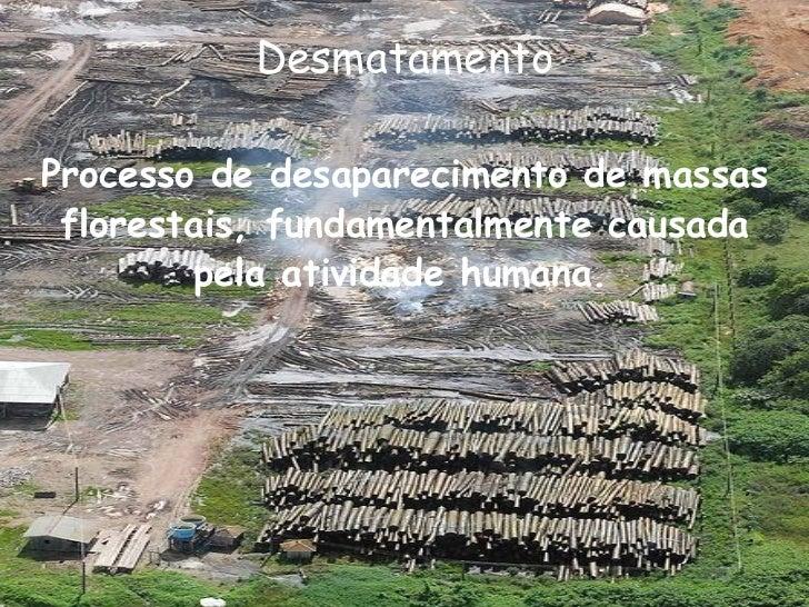 Desmatamento <ul><li>Processo de desaparecimento de massas florestais, fundamentalmente causada pela atividade humana.   <...