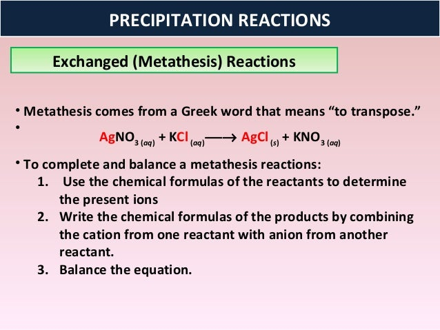 anion metathesis reaction Cact home metathesis reactions key words: metathesis, precipitation, neutralization, gas formation gravimetric and volumetric analyses skills to develop.