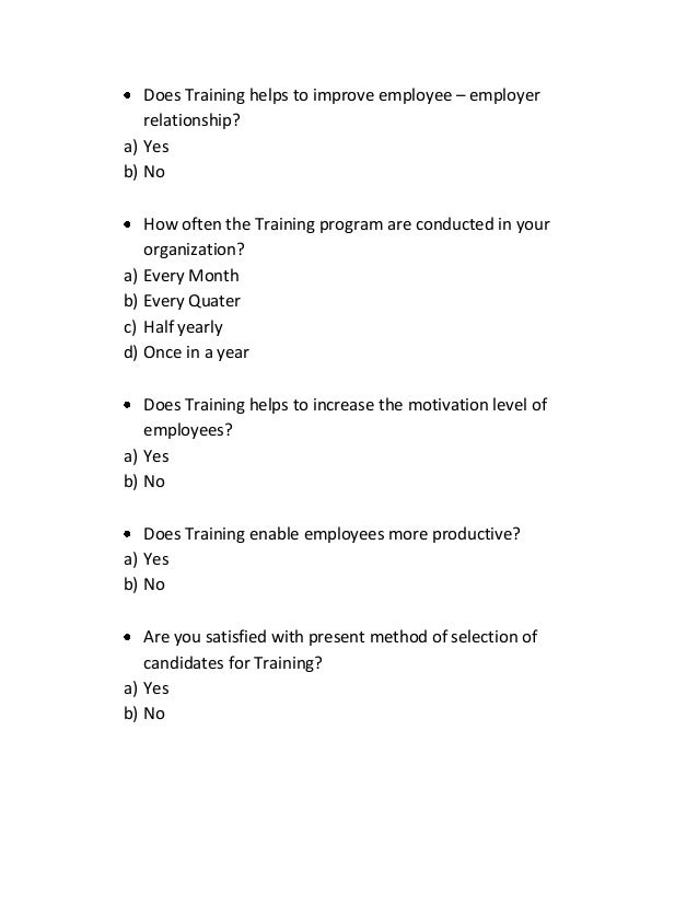A Questionnaire For Training And Development