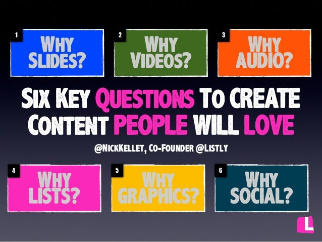 1  Why Slides?  2  Why Videos?  3  Why AUDIO?  Six Key Questions To CREATE Content PEOPLE WILL LOVE @NickKellet, Co-Founde...