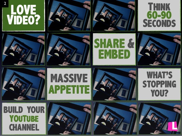 2  Think 60-90 Seconds  LOVE Video? SHARE & EMBED MASSIVE APPETITE  BUILD YOUR YOuTube CHANNEL  WHAT'S STOPPING YOU?