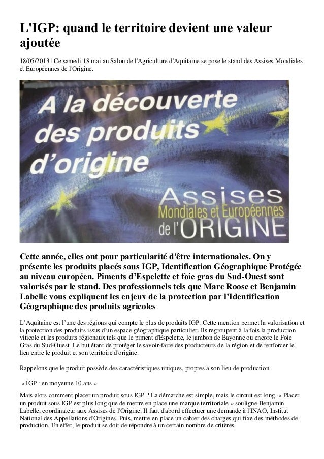 LIGP: quand le territoire devient une valeurajoutée18/05/2013 | Ce samedi 18 mai au Salon de lAgriculture dAquitaine se po...