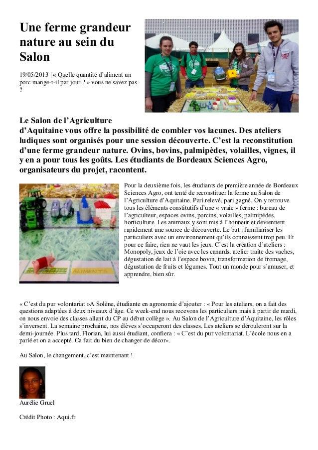 Une ferme grandeurnature au sein duSalon19/05/2013 | « Quelle quantité d'aliment unporc mange-t-il par jour ? » vous ne sa...