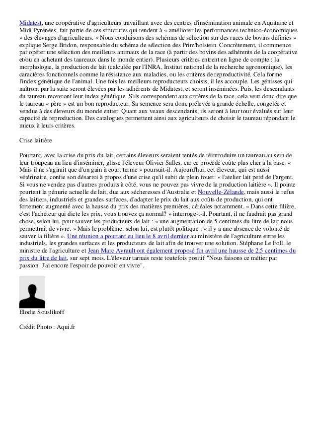 Midatest, une coopérative dagriculteurs travaillant avec des centres dinsémination animale en Aquitaine etMidi Pyrénées, f...