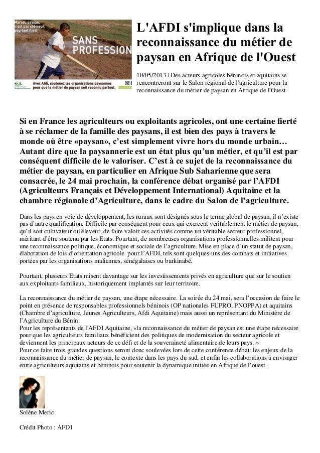 LAFDI simplique dans lareconnaissance du métier depaysan en Afrique de lOuest10/05/2013 | Des acteurs agricoles béninois e...