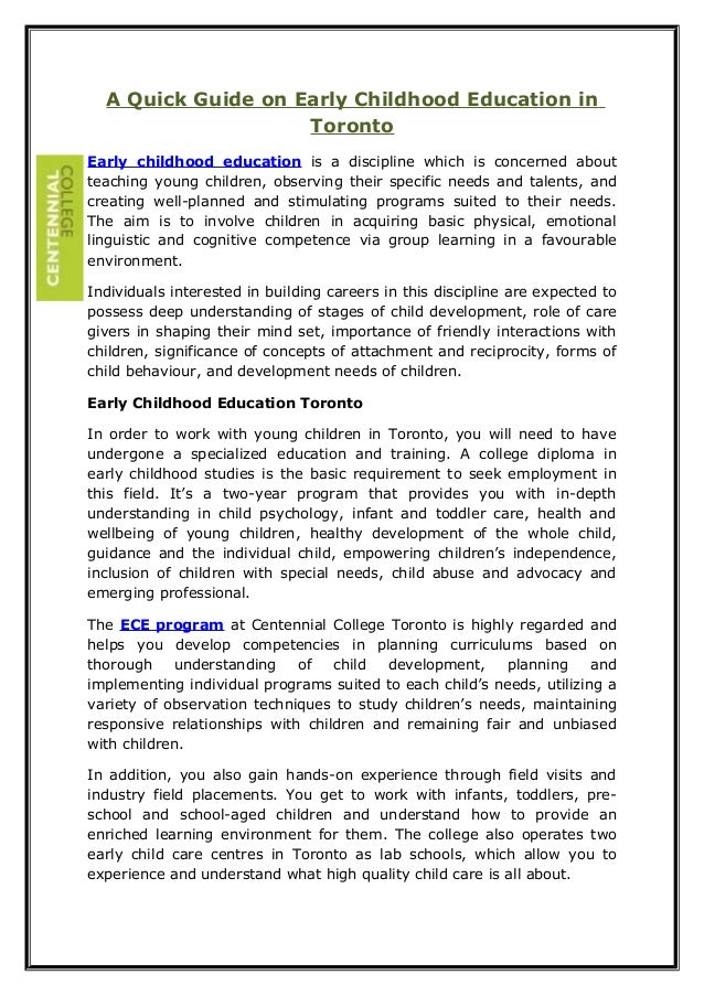 A Quick Guide on Early Childhood Education in Toronto Early childhood education is a discipline which is concerned about t...