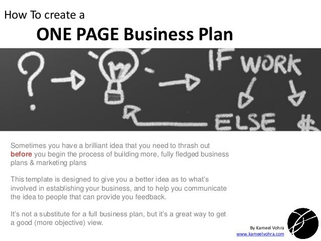 A Quick ONE PAGE Business Plan Template - Full business plan template