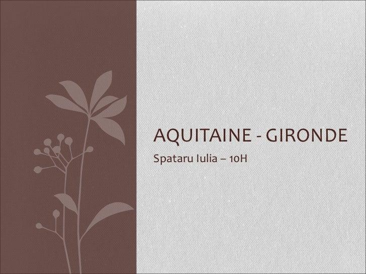 Spataru Iulia – 10H AQUITAINE - GIRONDE