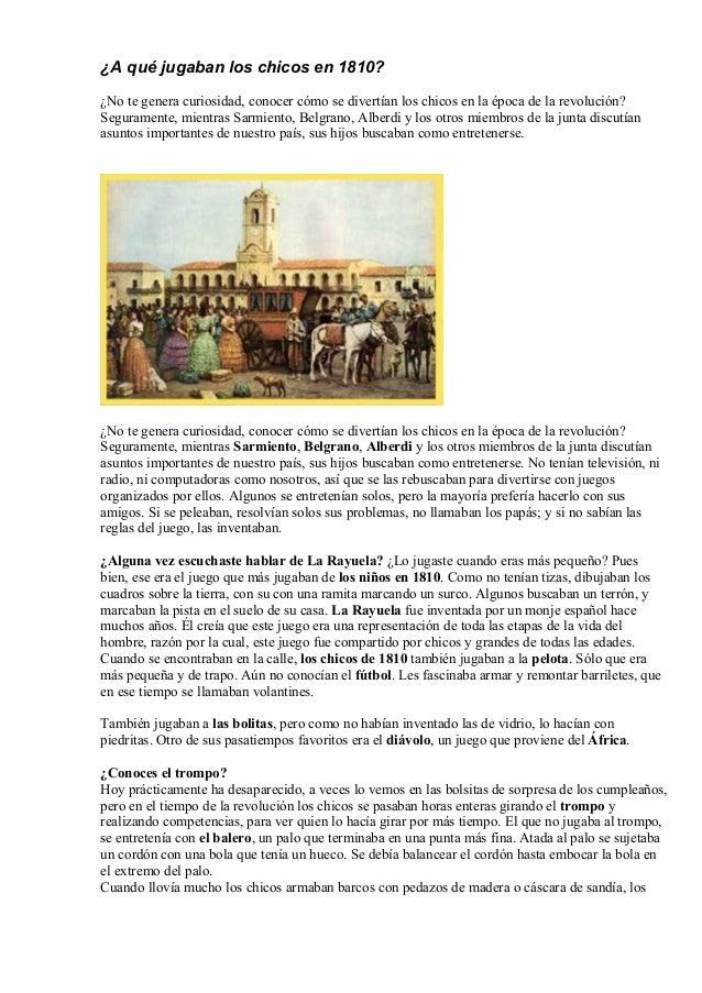 A Que Jugaban Los Chicos En 1810
