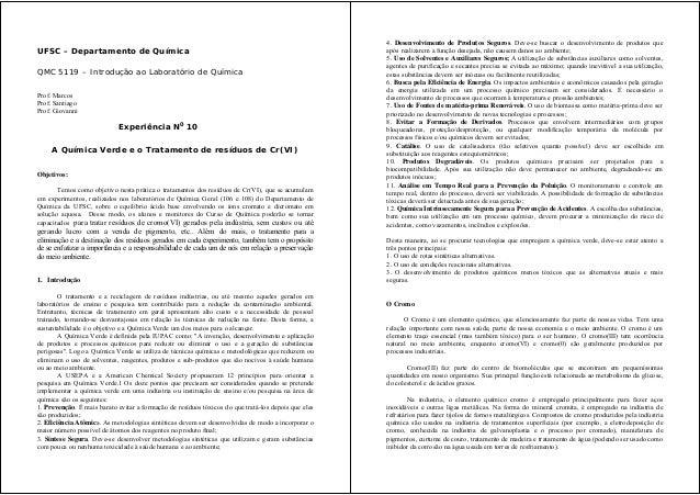 UFSC – Departamento de Química QMC 5119 – Introdução ao Laboratório de Química Prof. Marcos Prof. Santiago Prof. Giovanni ...