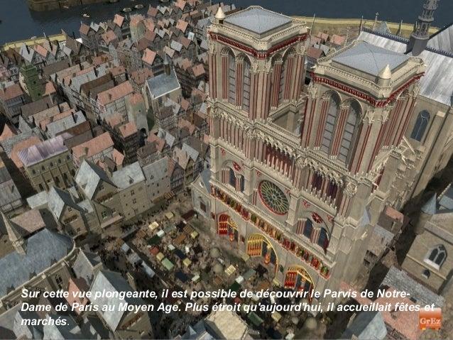 Sur cette vue plongeante, il est possible de découvrir le Parvis de Notre-Dame de Paris au Moyen Age. Plus étroit quaujour...