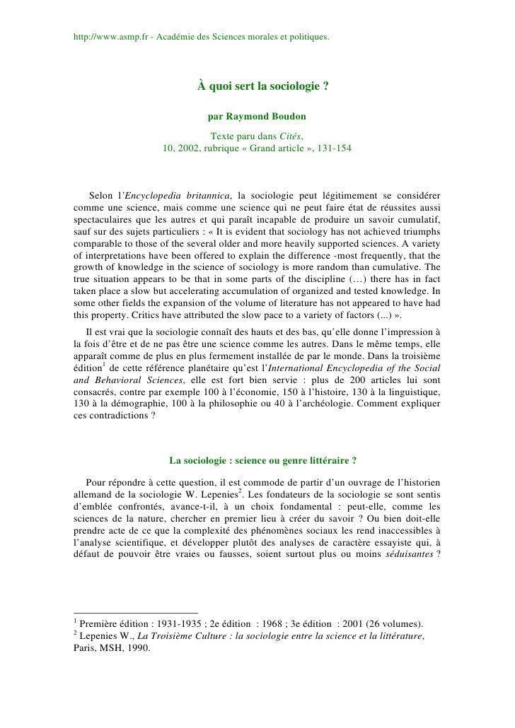 http://www.asmp.fr - Académie des Sciences morales et politiques.                               À quoi sert la sociologie ...