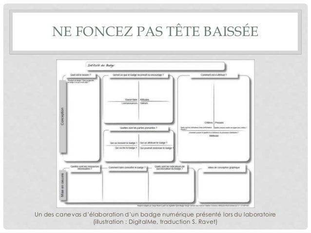 NE FONCEZ PAS TÊTE BAISSÉE Un des canevas d'élaboration d'un badge numérique présenté lors du laboratoire (illustration : ...
