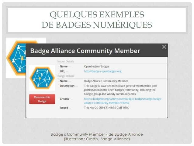 QUELQUES EXEMPLES DE BADGES NUMÉRIQUES Badge « Community Member » de Badge Alliance (illustration : Credly, Badge Alliance)