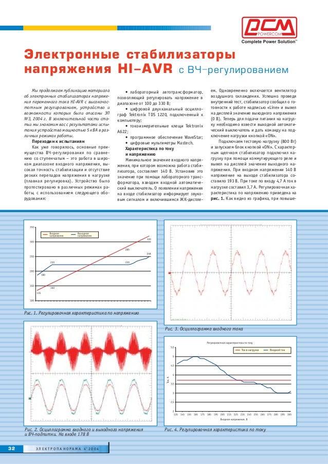 Мы продолжаем публикацию материала об электронных стабилизаторах напряже- ния переменного тока HI-AVR с высокочас- тотным ...