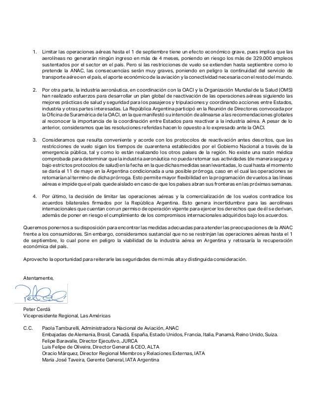 Carta de IATA a Gobierno Argentino Slide 2