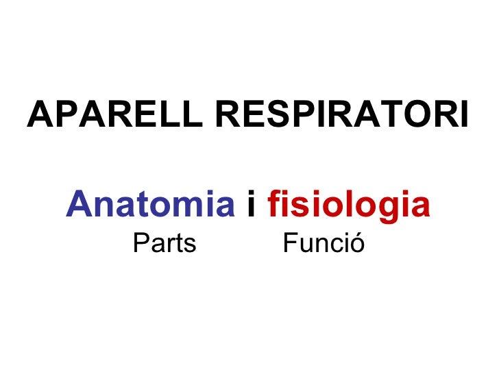 APARELL RESPIRATORI Anatomia  i  fisiologia Parts  Funció