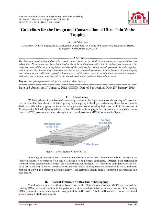 The International Journal of Engineering And Science (IJES)  Volume   2   Issue   01   Pages   269-274   2013  ISSN: 2319 ...