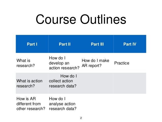 Course Outlines Part I Part II Part III Part IV What is research? How do I develop an action research? How do I make AR re...