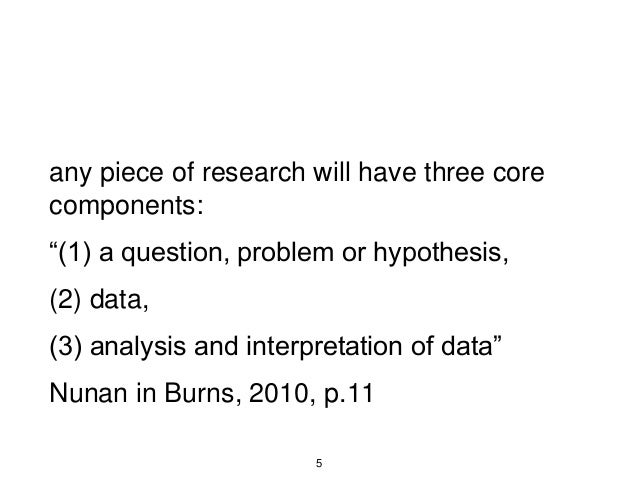 """any piece of research will have three core components: """"(1) a question, problem or hypothesis, (2) data, (3) analysis and ..."""