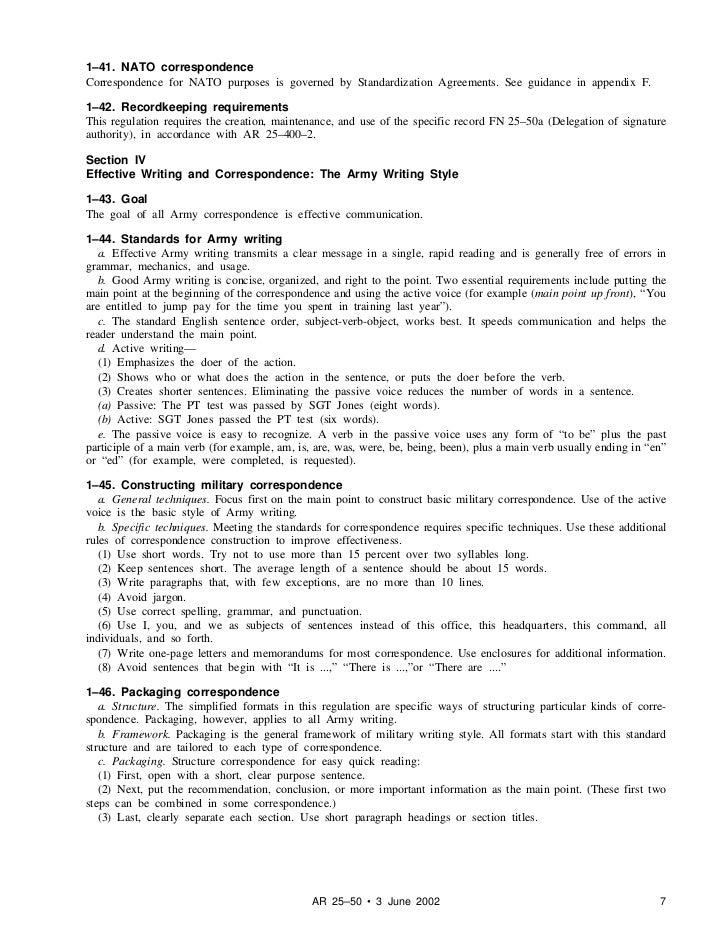 army writing regulation ar 25 50