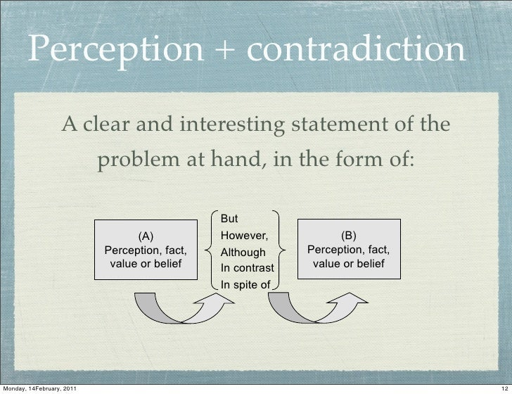 Perception + contradiction                  A clear and interesting statement of the                           problem at ...