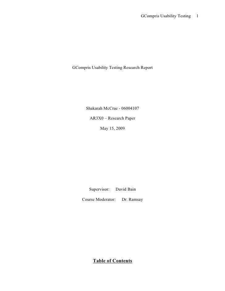 GCompris Usability Testing   1     GCompris Usability Testing Research Report            Shakarah McCrae - 06004107       ...