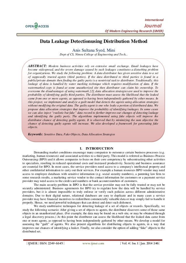 International OPEN  Journal  ACCESS  Of Modern Engineering Research (IJMER)  Data Leakage Detectionusing Distribution Meth...