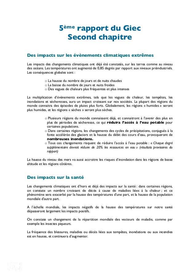 RéseauActionClimat 2B,rueJulesFerry93100Montreuil 0148588392-@RACFrance 5ème rapport du Giec Second chapitre Des impacts ...