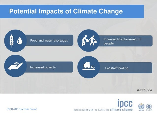 Potential Impacts of Climate Change  Food and water shortages  Increased poverty  IPCC AR5 Synthesis Report  Increased dis...