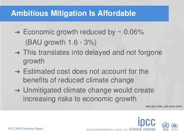 Ambitious Mitigation Is Affordable  ➜ Economic growth reduced by ~ 0.06%  (BAU growth 1.6 - 3%)  ➜ This translates into de...