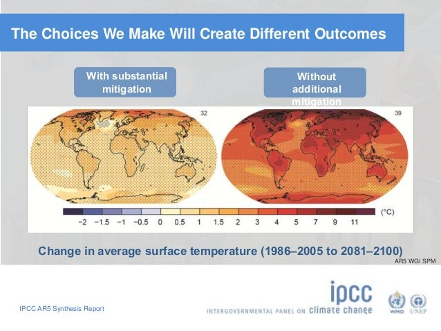 The Choices We Make Will Create Different Outcomes  With substantial  mitigation  IPCC AR5 Synthesis Report  Without  addi...