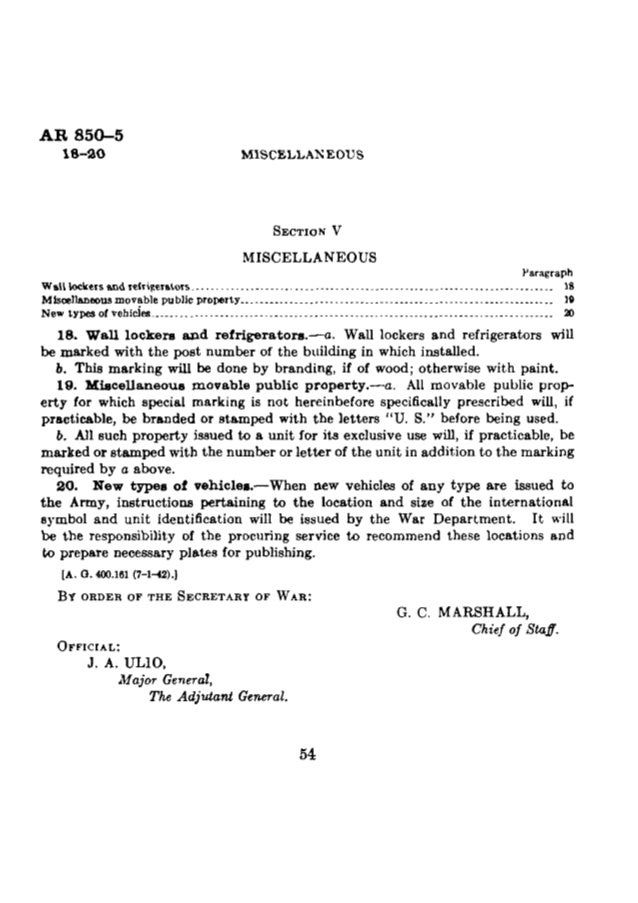 AR 850-5  0 4 MISCELLANEOUS MARKING OF CLOTHING,  EQUIPMENT,  VEHICLES,  AND PROPERTY CHANGES WAR DEPARTMENT,  N0, 4 } WAS...