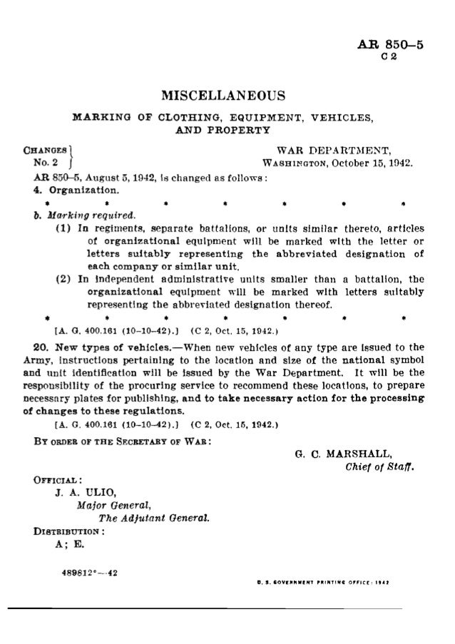 AR 850--5  O 8 MISCELLANEOUS MARKING 01-' CLOTHING,  EQUIPMENT,  VEHICLES,  AND PROPERTY Cannons WAR DEPARTMENT.  No.  6 W...