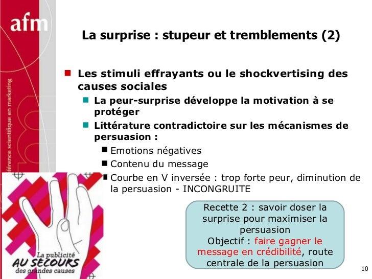 La surprise : stupeur et tremblements (2) <ul><li>Les stimuli effrayants ou le shockvertising des causes sociales </li></u...