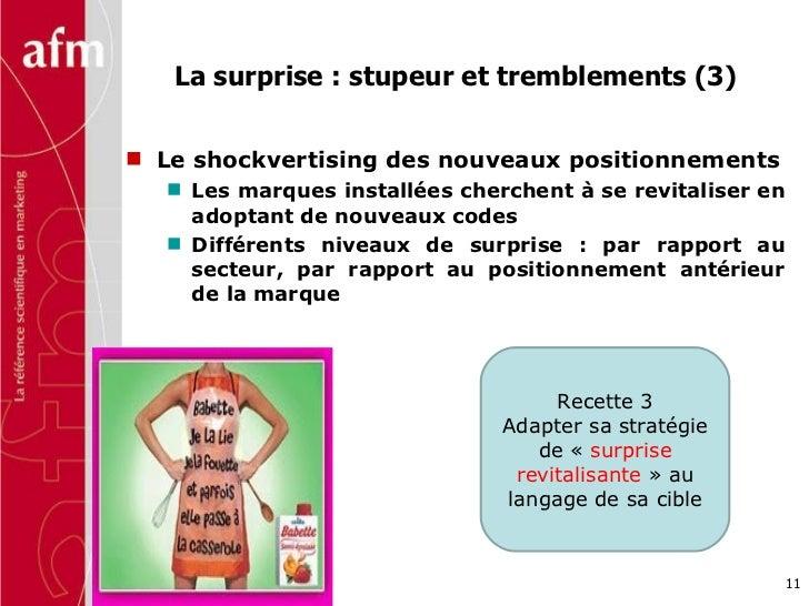 La surprise : stupeur et tremblements (3)  <ul><li>Le shockvertising des nouveaux positionnements </li></ul><ul><ul><li>Le...
