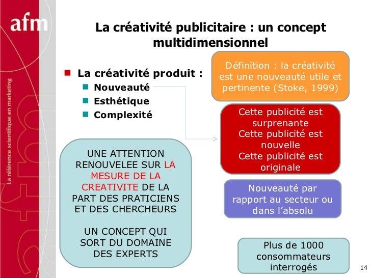 La créativité publicitaire : un concept multidimensionnel <ul><li>La créativité produit :  </li></ul><ul><ul><li>Nouveauté...