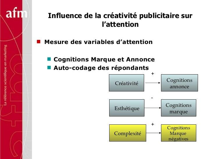 Influence de la créativité publicitaire sur l'attention <ul><li>Mesure des variables d'attention </li></ul><ul><ul><li>Cog...