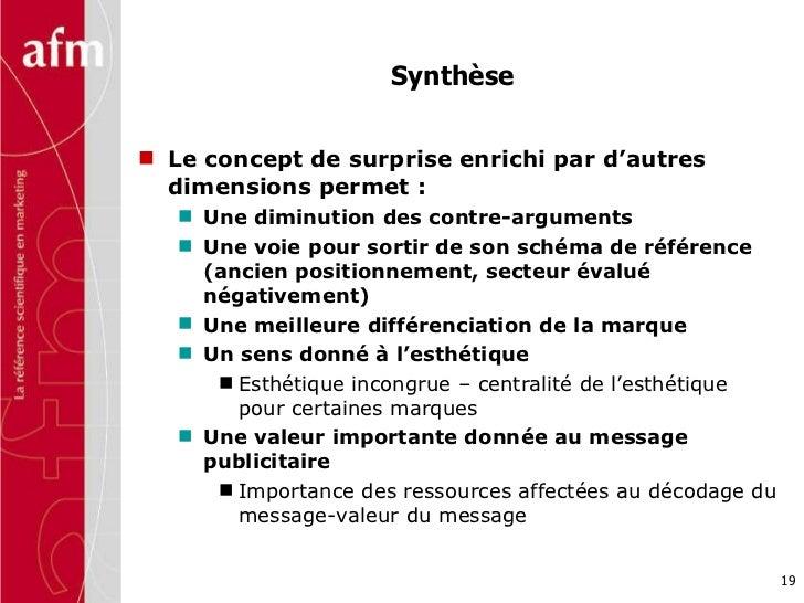 Synthèse  <ul><li>Le concept de surprise enrichi par d'autres dimensions permet :  </li></ul><ul><ul><li>Une diminution de...