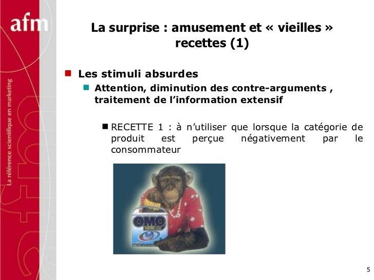 La surprise : amusement et «vieilles» recettes (1) <ul><li>Les stimuli absurdes </li></ul><ul><ul><li>Attention, diminut...