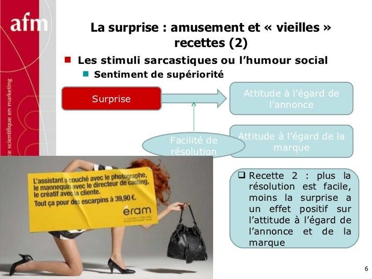 La surprise : amusement et «vieilles» recettes (2) <ul><li>Les stimuli sarcastiques ou l'humour social </li></ul><ul><ul...