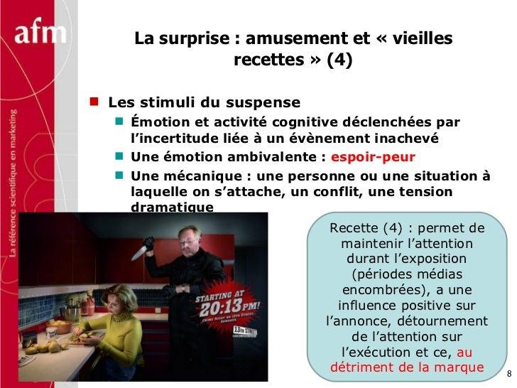 La surprise : amusement et «vieilles recettes» (4) <ul><li>Les stimuli du suspense </li></ul><ul><ul><li>Émotion et acti...