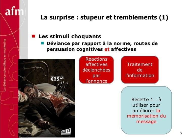 La surprise : stupeur et tremblements (1) <ul><li>Les stimuli choquants  </li></ul><ul><ul><li>Déviance par rapport à la n...