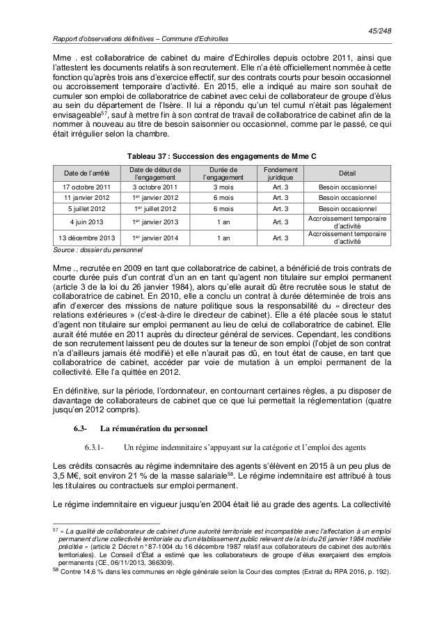 45/248 Rapport d'observations définitives – Commune d'Echirolles Mme . est collaboratrice de cabinet du maire d'Echirolles...