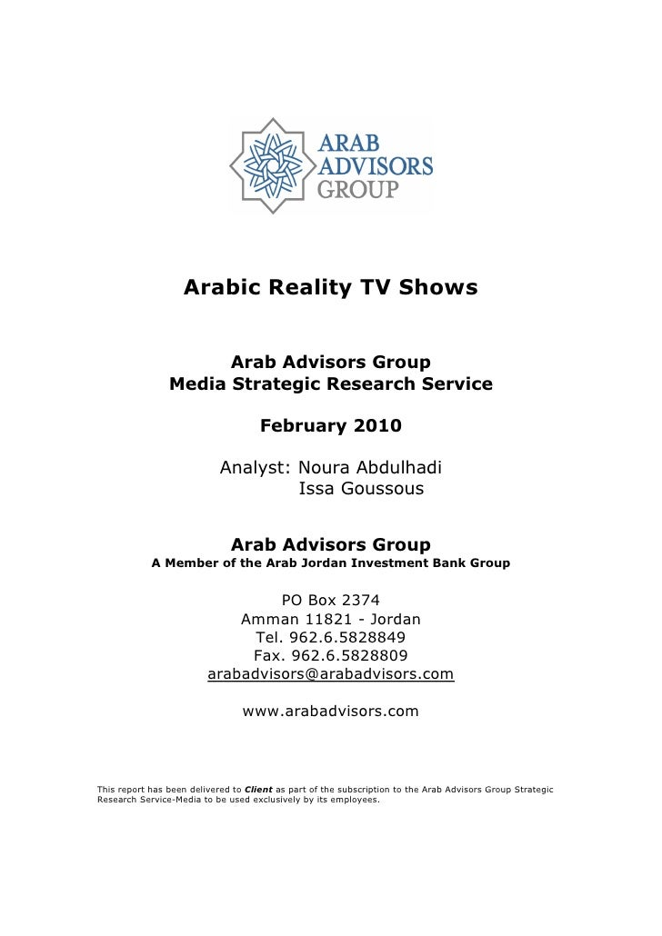 Arabic Reality TV Shows                         Arab Advisors Group                 Media Strategic Research Service      ...