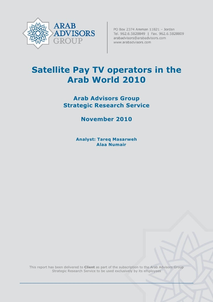 Satellite Pay TV operators in the Arab World 2010 - TABLE OF CONTENTS